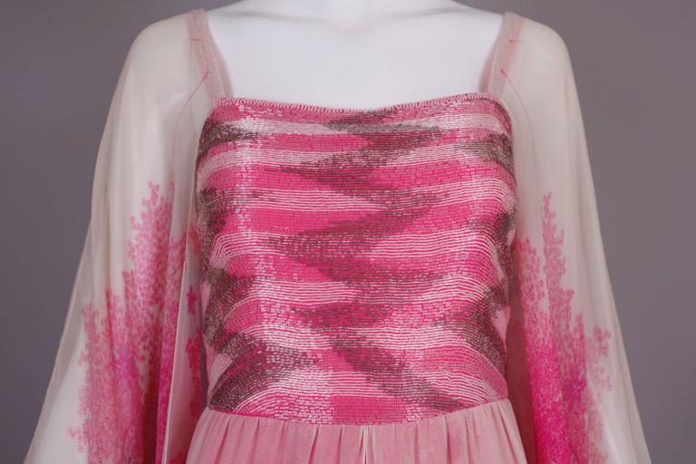 1970's Hanae Mori Couture Pink Chiffon Beaded Floral Print Evening Gown  For Sale 4