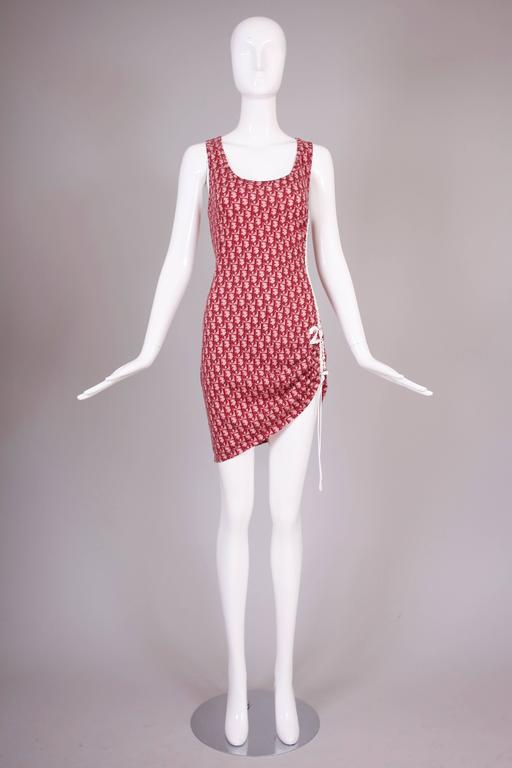 Christian Dior By John Galliano Dior Logo Print Tank Dress