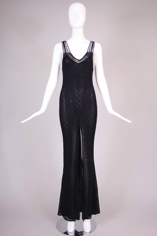 Women's Christian Dior Sleeveless Black Bodycon Evening Gown w/Dramatic Frontal Slit For Sale