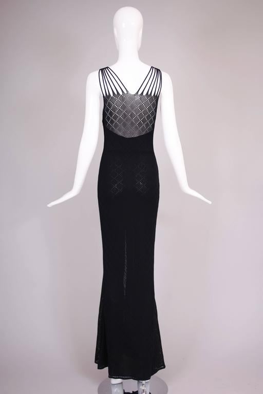 Christian Dior Sleeveless Black Bodycon Evening Gown w/Dramatic Frontal Slit For Sale 1