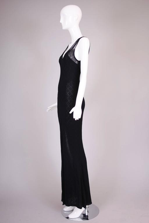 Christian Dior Sleeveless Black Bodycon Evening Gown w/Dramatic Frontal Slit For Sale 2