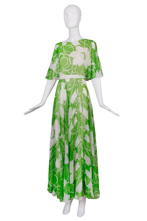 1970's Estevez Green & White Floral Garden Party Maxi Dress 2
