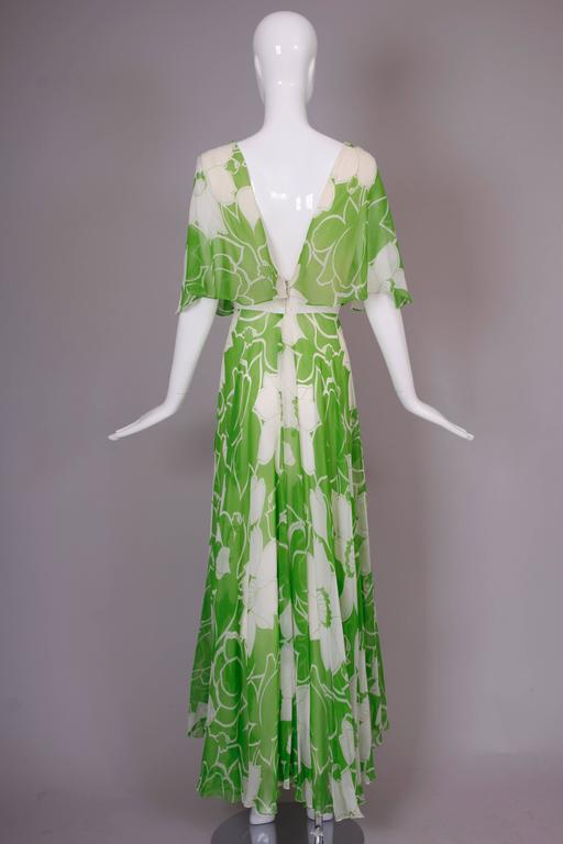 1970's Estevez Green & White Floral Garden Party Maxi Dress 4