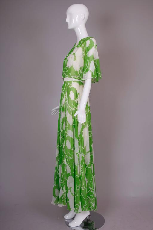 1970's Estevez Green & White Floral Garden Party Maxi Dress 5