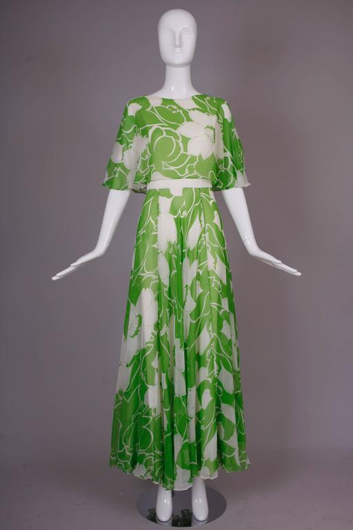1970's Estevez Green & White Floral Garden Party Maxi Dress 3