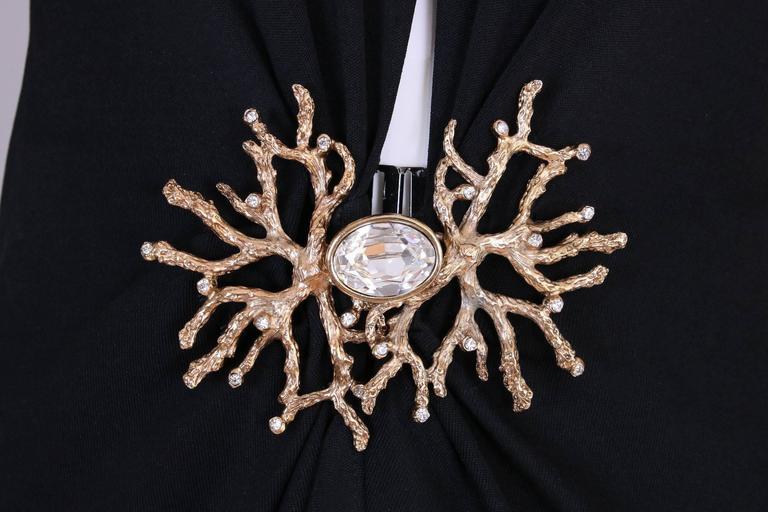 Yves Saint Laurent Black Jersey Deep V-Neck Dress w/Deep V-Neck & Coral Closure For Sale 1