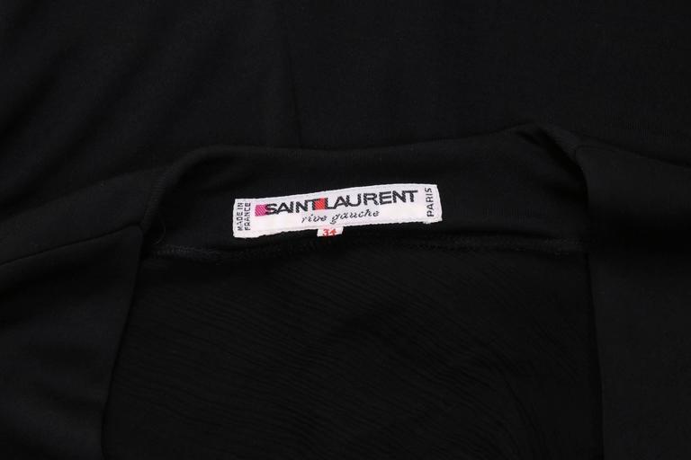 Yves Saint Laurent Black Jersey Deep V-Neck Dress w/Deep V-Neck & Coral Closure For Sale 2