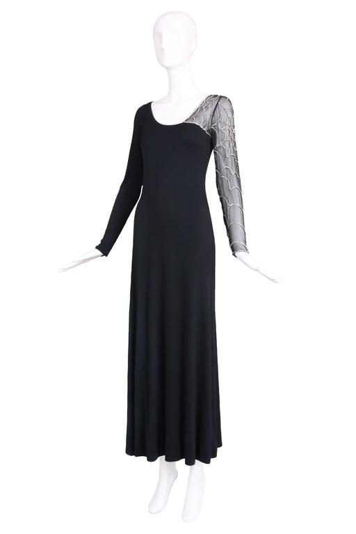Mollie Parnis Black Silk Jersey Evening Dress Gown w/Beaded Spiderweb Sleeves 2