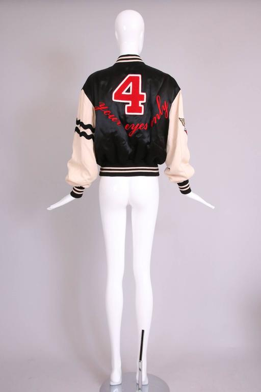 """Vintage Moschino Cheap & Chic """"4 Your Eyes Only"""" Varsity Bomber Jacket 2"""