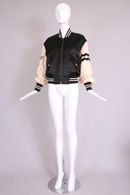 """Vintage Moschino Cheap & Chic """"4 Your Eyes Only"""" Varsity Bomber Jacket 3"""
