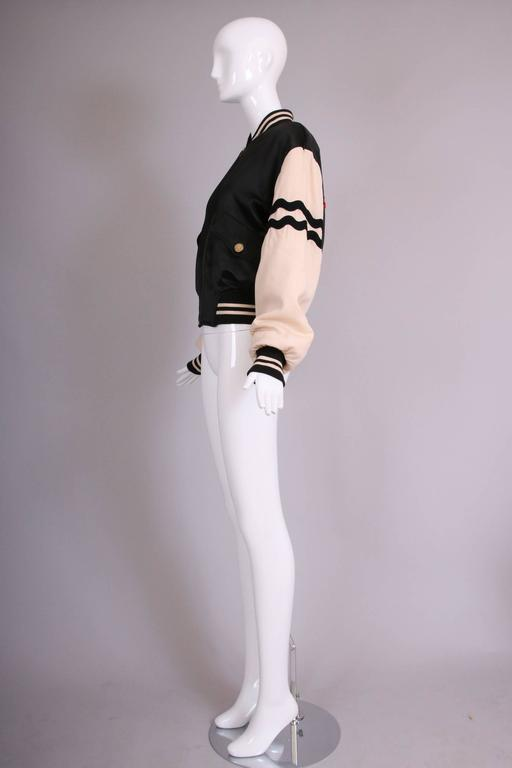 """Vintage Moschino Cheap & Chic """"4 Your Eyes Only"""" Varsity Bomber Jacket 4"""