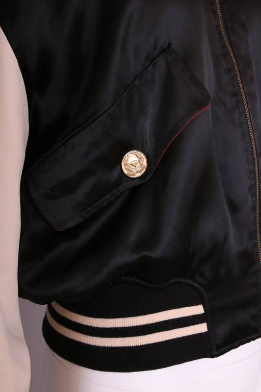 """Vintage Moschino Cheap & Chic """"4 Your Eyes Only"""" Varsity Bomber Jacket 7"""