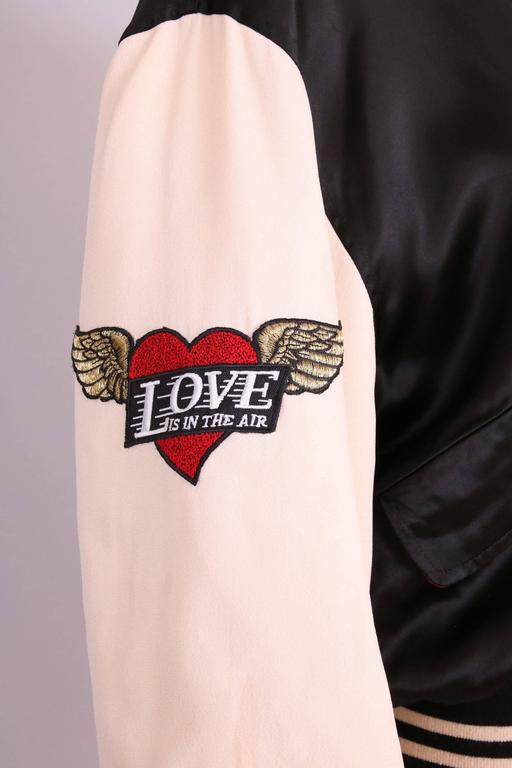 """Vintage Moschino Cheap & Chic """"4 Your Eyes Only"""" Varsity Bomber Jacket 5"""