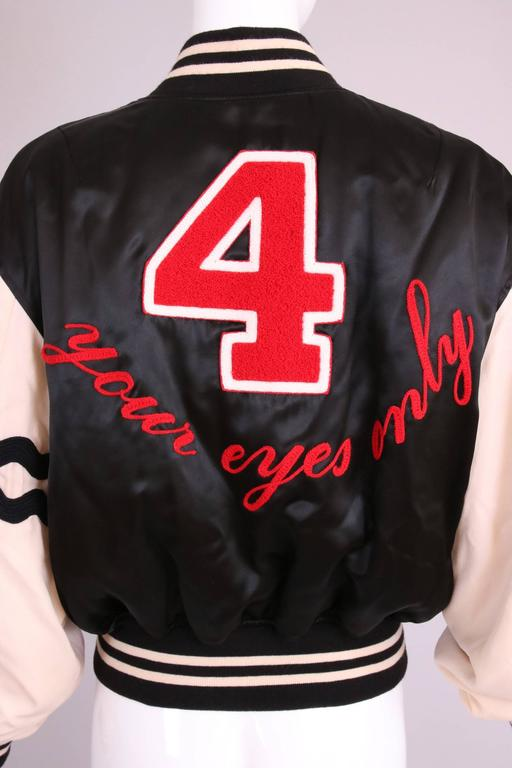 """Vintage Moschino Cheap & Chic """"4 Your Eyes Only"""" Varsity Bomber Jacket 6"""