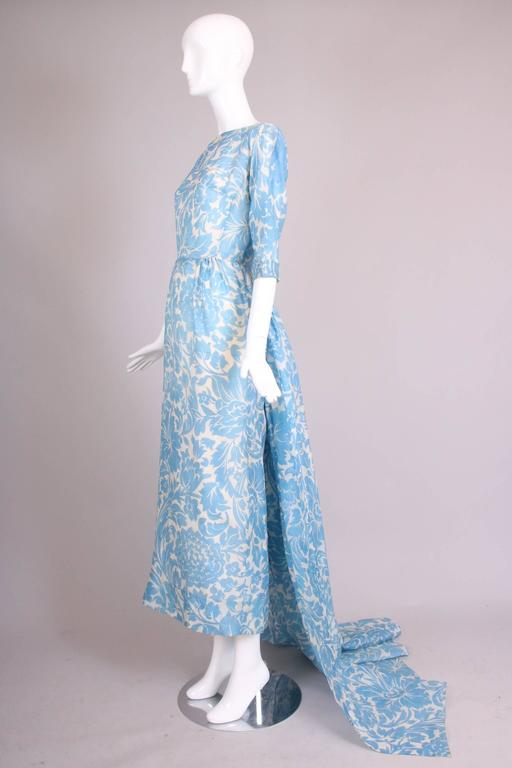 Pauline Trigere Blue & White Floral Linen Evening Gown w/Long Train In Excellent Condition For Sale In Los Angeles, CA