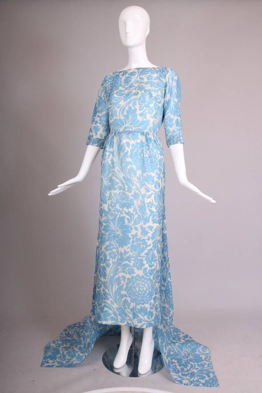 Women's Pauline Trigere Blue & White Floral Linen Evening Gown w/Long Train For Sale