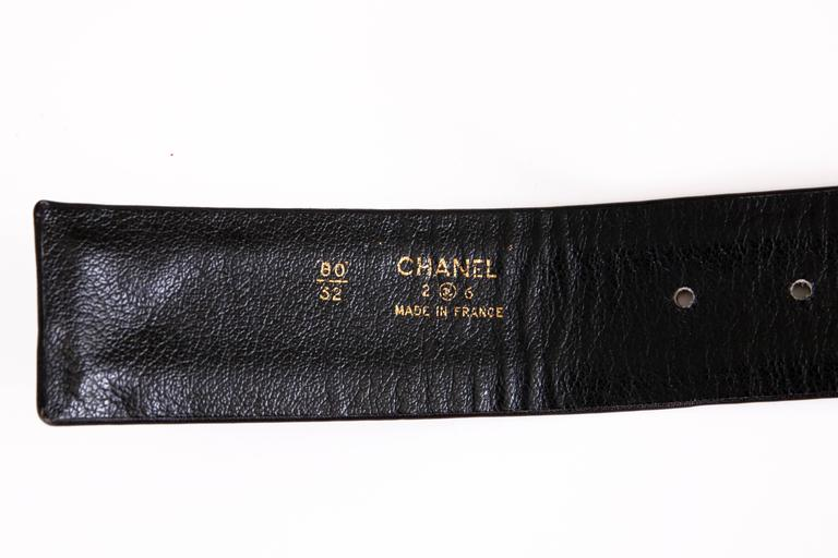 Chanel Black Leather & Stacked Chain CC Logo Belt w/Chain & Leather Buckle 7