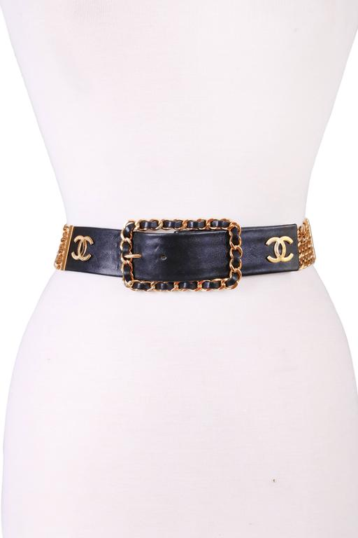Chanel black leather and stacked chain belt with repeating CC logo and rectangular leather and chain buckle. Stamped Chanel. Size 80/32. In excellent condition.
