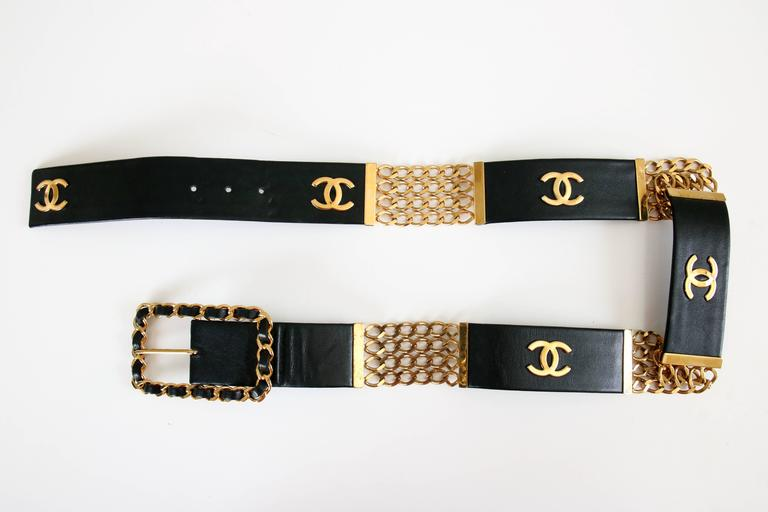 Chanel Black Leather & Stacked Chain CC Logo Belt w/Chain & Leather Buckle For Sale 1