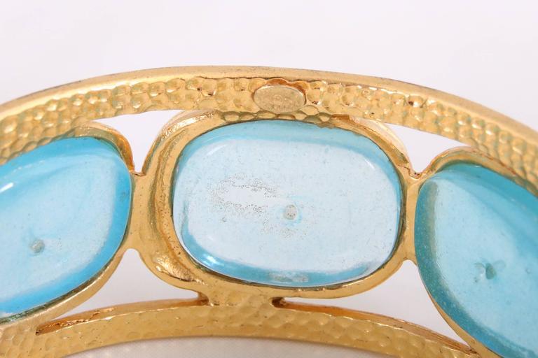 1996 Chanel Light Blue Gripoix Gold Tone Cuff w/CC Logo For Sale 4