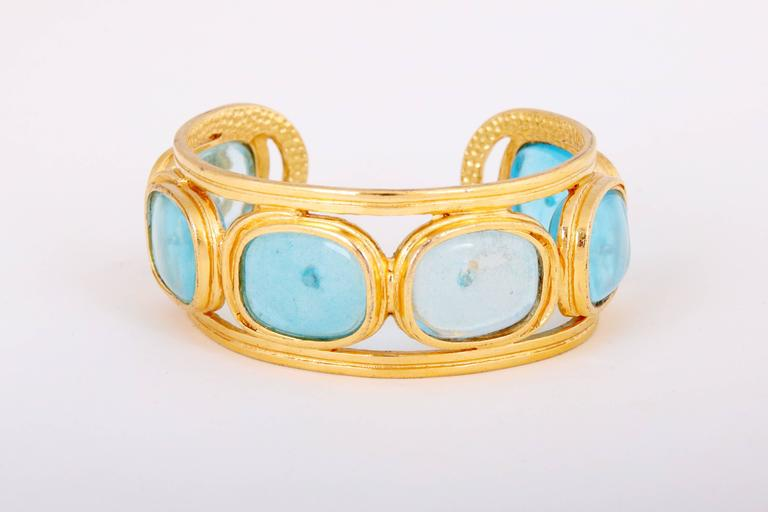 1996 Chanel Light Blue Gripoix Gold Tone Cuff w/CC Logo In Excellent Condition For Sale In Los Angeles, CA