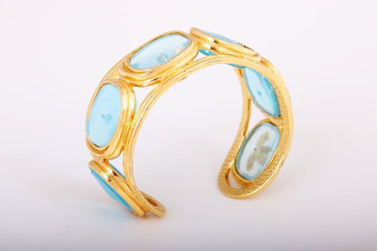 1996 Chanel Light Blue Gripoix Gold Tone Cuff w/CC Logo For Sale 1