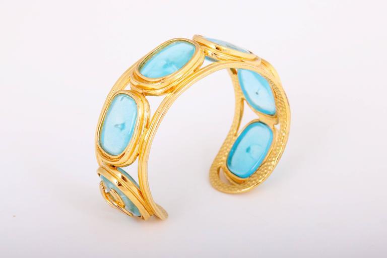 1996 Chanel Light Blue Gripoix Gold Tone Cuff w/CC Logo For Sale 3