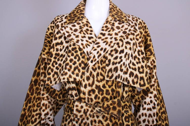 Women's Patrick Kelly Cotton Leopard Print Trench Coat w/Belt For Sale