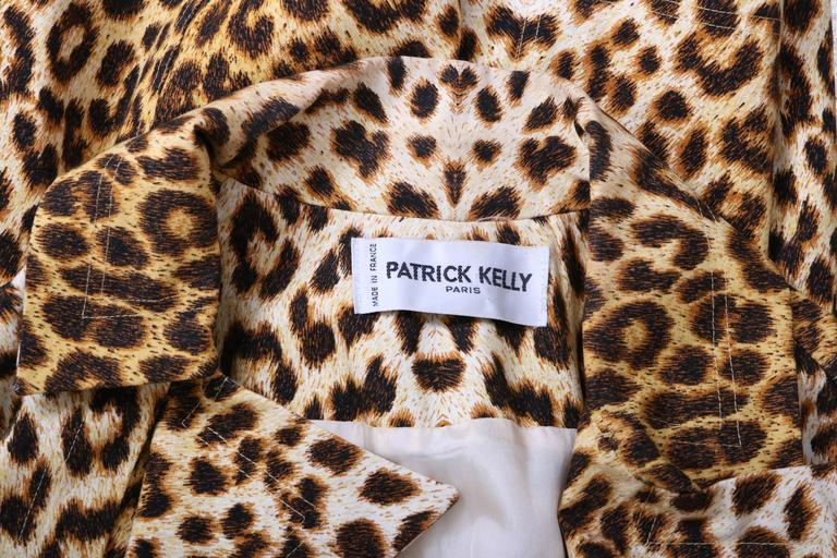 Patrick Kelly Cotton Leopard Print Trench Coat w/Belt For Sale 1