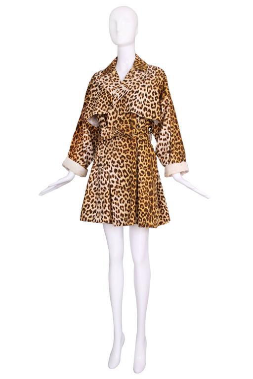 Patrick Kelly Cotton Leopard Print Trench Coat w/Belt 2