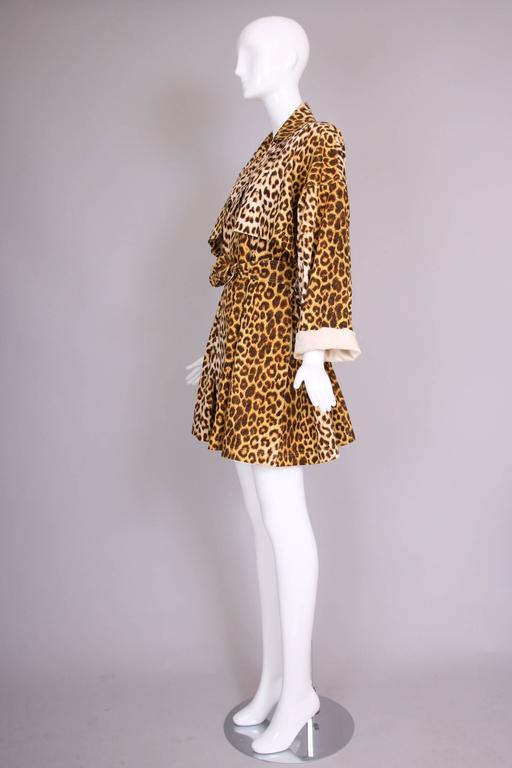 Patrick Kelly Cotton Leopard Print Trench Coat w/Belt In Excellent Condition For Sale In Los Angeles, CA