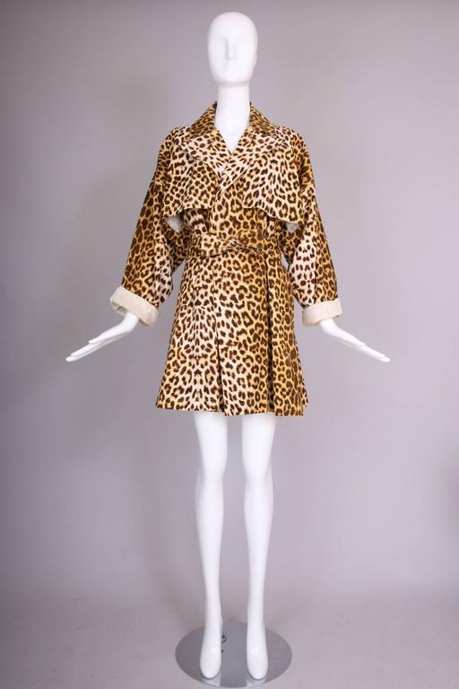 Brown Patrick Kelly Cotton Leopard Print Trench Coat w/Belt For Sale