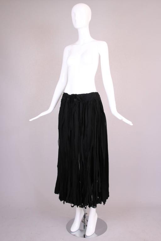 Women's Yohji Yamamoto Black 100% Cotton Carwash Skirt  For Sale