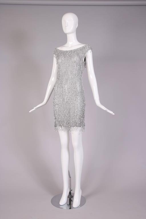 1970 S Loris Azzaro Silver Mesh Chain And Beaded Bodycon