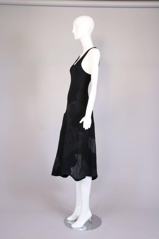 Women's Alexander McQueen Black Cotton Stretch Tank Dress w/Appliqued Skirt For Sale