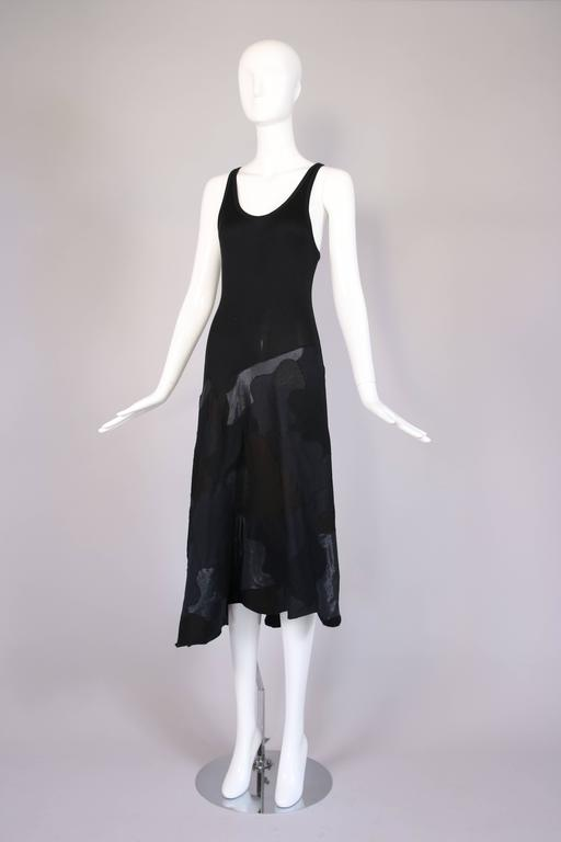 Alexander McQueen Black Cotton Stretch Tank Dress w/Appliqued Skirt In Excellent Condition For Sale In Los Angeles, CA