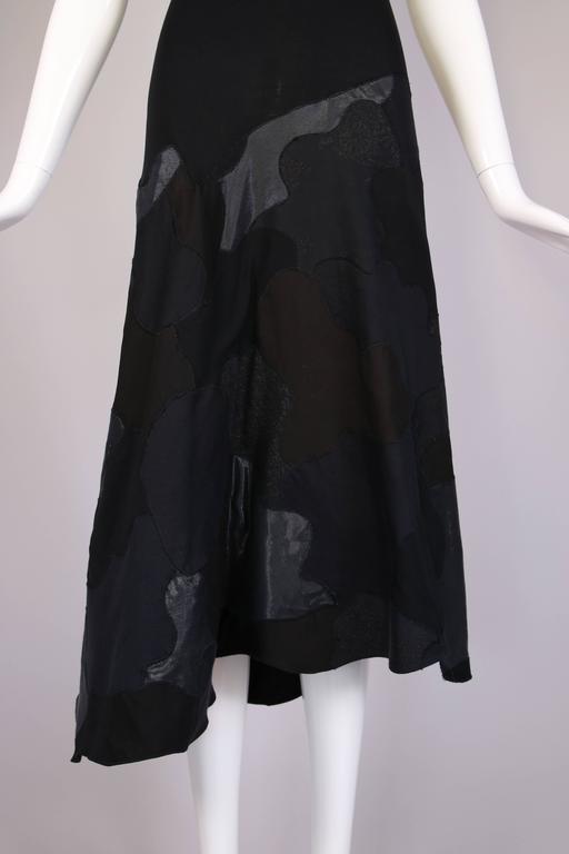 Alexander McQueen Black Cotton Stretch Tank Dress w/Appliqued Skirt For Sale 1