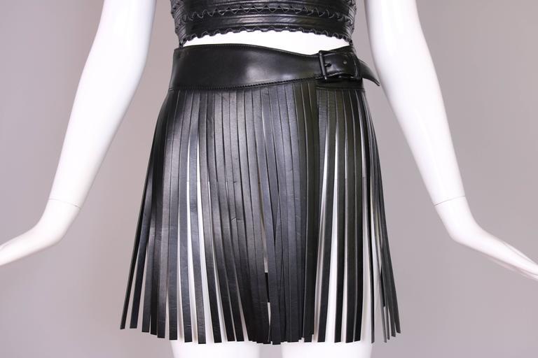 Iconic Alaia Black Leather Fringe Belt Circa 2001 2