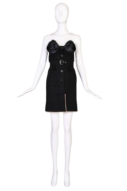 Antonio Berardi strapless little black mini dress with detachable belt - button closure up the front with triangle-shaped leather trim detail along the hem and frontal slit. No size tag - please consult measurements. In excellent
