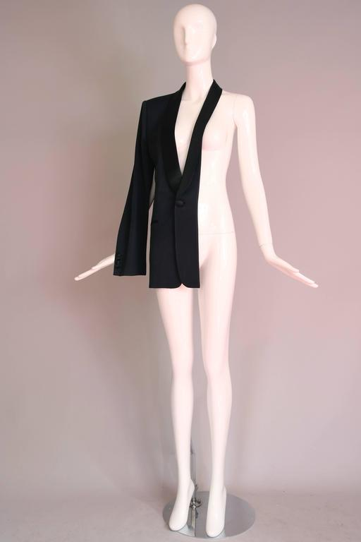 Martin Margiela Black Deconstructed Tuxedo Jacket In Excellent Condition For Sale In Los Angeles, CA