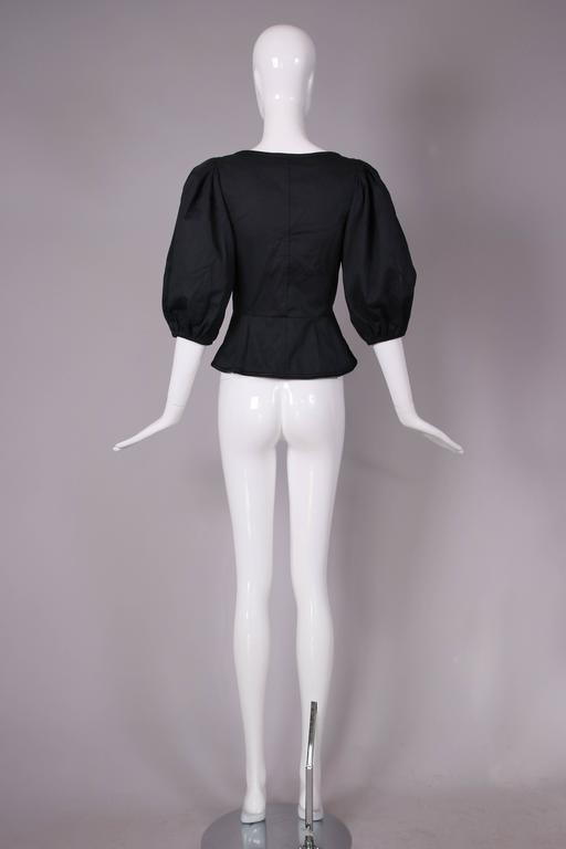 1970's Yves Saint Laurent Black Cotton Lace Up Peasant Top w/Balloon Sleeves 6