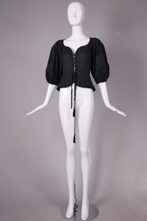 1970's Yves Saint Laurent Black Cotton Lace Up Peasant Top w/Balloon Sleeves 4
