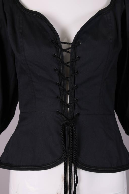 1970's Yves Saint Laurent Black Cotton Lace Up Peasant Top w/Balloon Sleeves 3