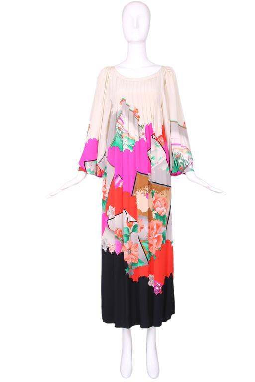 Hanae Mori Couture Silk Printed Maxi Dress W/Bell Sleeves & Smocked Neckline 2