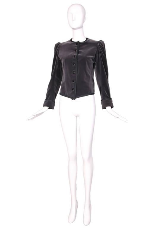 1970's Yves Saint Laurent YSL Slate Grey Velvet Jacket W/Black Trim 2