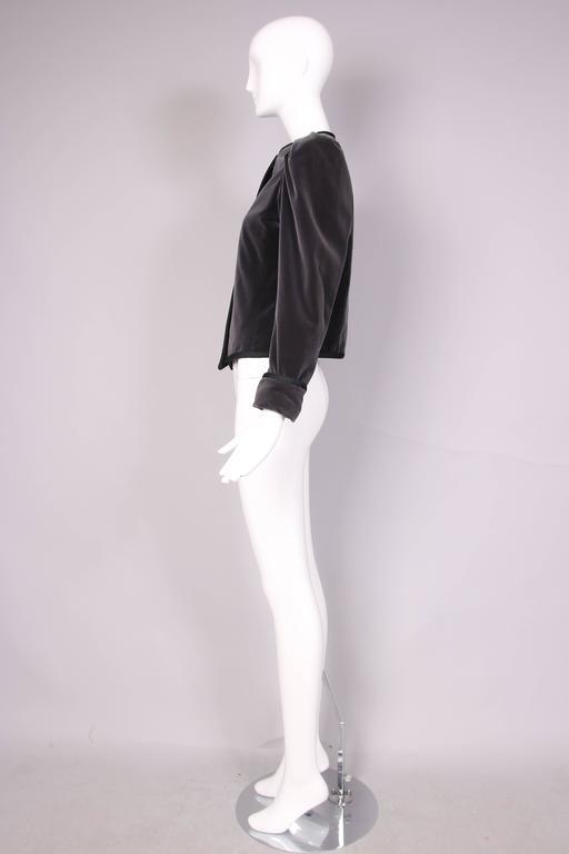 1970's Yves Saint Laurent YSL Slate Grey Velvet Jacket W/Black Trim 3
