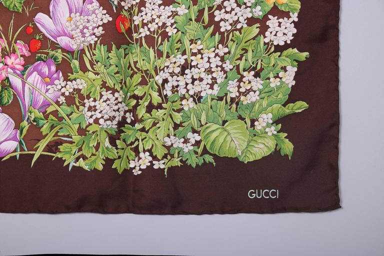Brown Vintage Gucci 100% Silk Scarf Featuring a Baby Deer Fawn Framed by Flowers For Sale