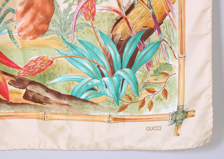 Beige 1970's Gucci Silk Scarf Featuring a Tiger Against A Jungle Background For Sale