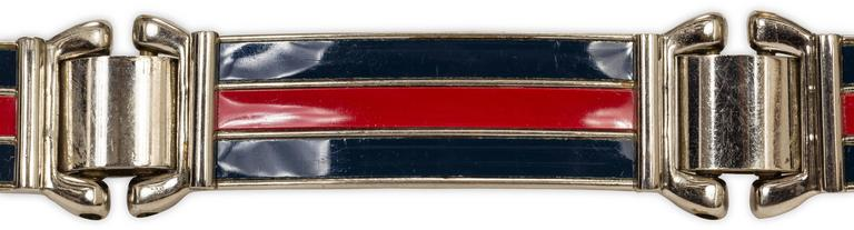 1970's Gucci Blue & Red Enamel Link Silver Tone Metal Belt w/Buckle Closure 3