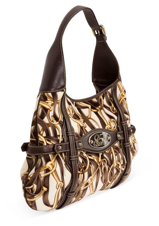 cc185a7c3 Brown Gucci 85th Anniversary Velvet & Leather Hobo Bag w/Horsebit Print & Leather  Trim
